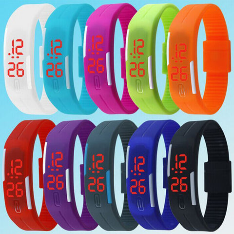 Man LED watch fashion sports silicone candy multicolor touch screen digital man Wristwatch bracelet
