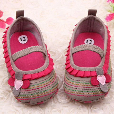 0-12M  Newborn Baby Girls Flower Ruffled Shoes  Soft Bottom Kids Crib First Walkers