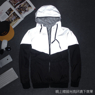 Men Jacket spring Patchwork Reflective Waterproof Windbreaker Men Coat