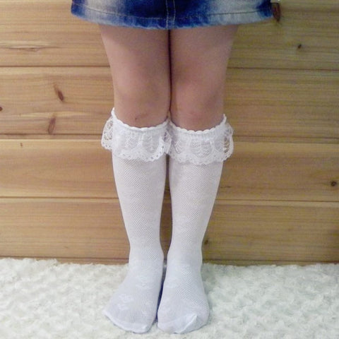 3-8Y Comfy White Lace Baby Girl Stocking Knee Length Socks