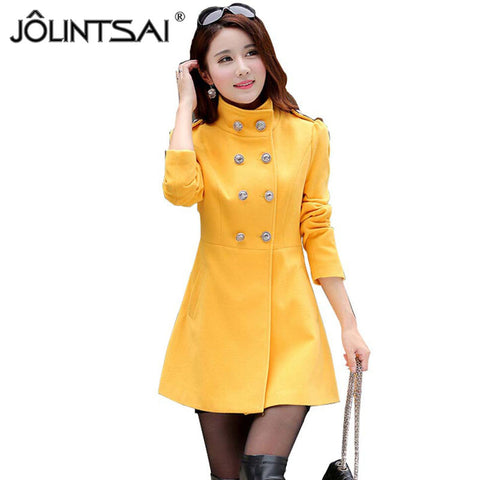Trench Coat Women New Stand-Collar Cashmere Winter Coat Woman Slim Outerwear