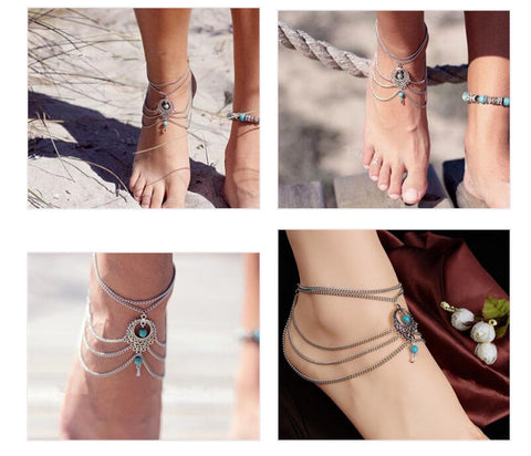 Boho Ethnic Turquoise Beads Anklets Chic Tassel Foot Chain Anklet Bracelet Anklets For Women