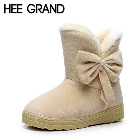 HEE GRAND Snow Boots Bowtie Women Boot Flock Warm Inside Platform Flat Ankle Boots Casual Flats