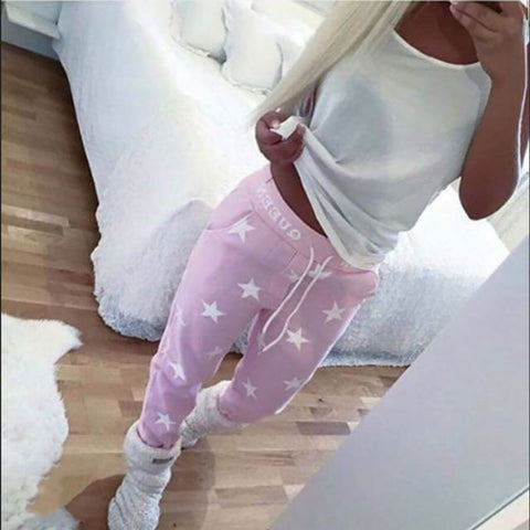 Pink/Gray Loose Pants Women Printed Star Casual Long Trousers Fashion Sweatpants