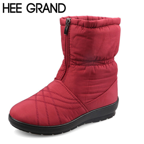 HEE GRAND Waterproof Flexible Cube Woman Boots High Quality Cozy Warm Fur Inside Snow Boots