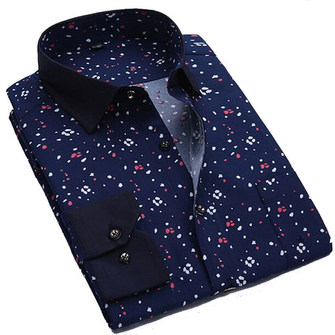 Men Shirt Long Sleeve Floral  Camisa Masculina Brand Casual  Print Mens Shirts