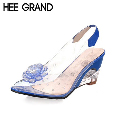 HEE GRAND Summer Sandals Women Peep Toe Wedge Sandals Flowers Sweet Jelly Woman Shoes