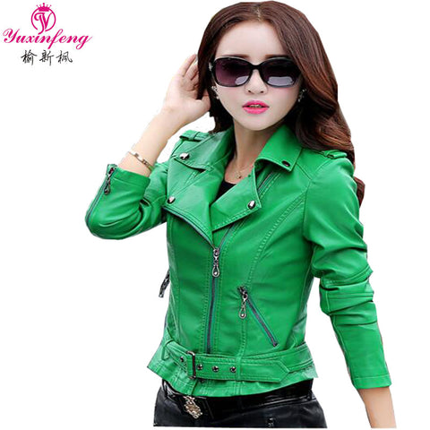 Leather Jackets and Coat Slim European Style Short  Faux Leather Jacket Plus Size Leather Coat Women