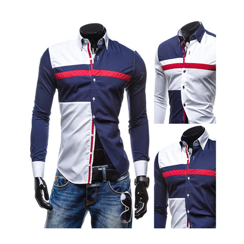 Men's Fashion Hit Color Patchwork Long Sleeve Slim Fit Formal Dress Shirt