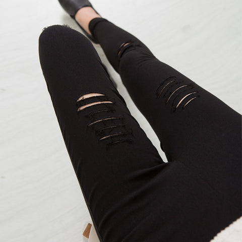 High Elastic Imitate Jeans Woman Knee Skinny Pencil Pants Slim Ripped  Jeans For Women Black