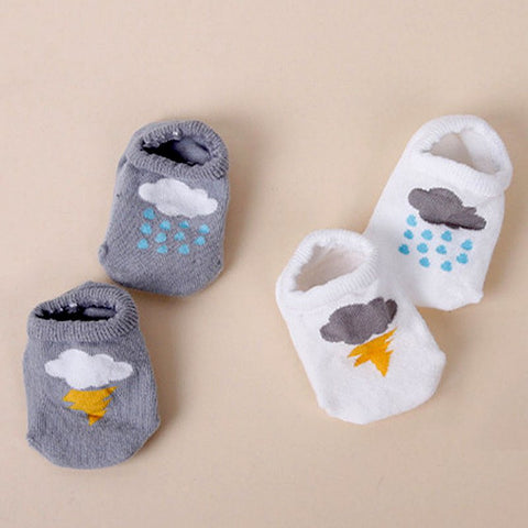 Boys / Girl Ankle Socks Cloud Print Cotton Anti-slip Socks 2 Sizes
