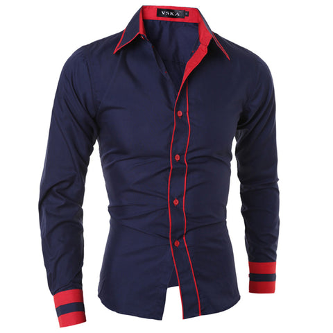 Fashion Brand Men Shirt   Cuff Striped Long-Sleeved Shirt