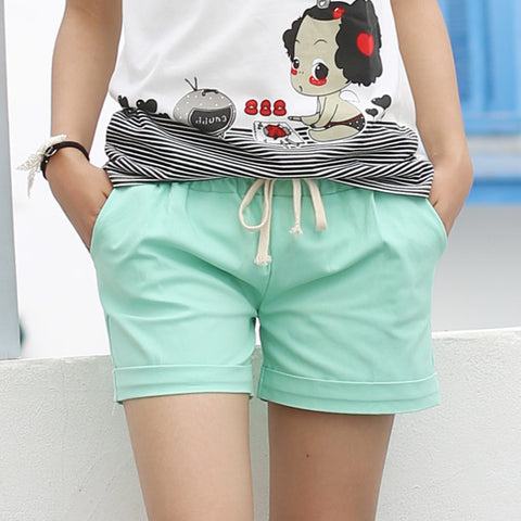 2017 Summer Style Shorts Women Candy Color Elastic With Belt  Short Women