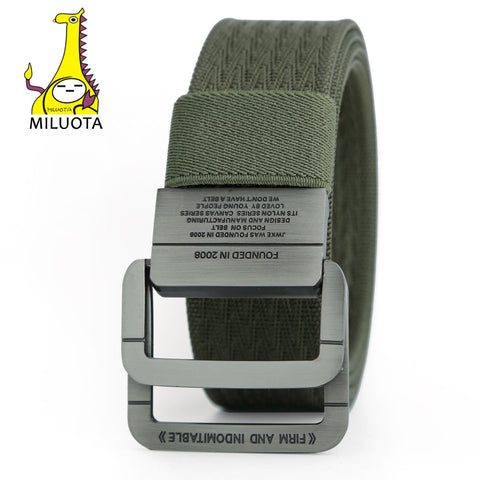 Tactical Belt Man Double Ring Buckle Thicken Canvas Belts for Men Waistband