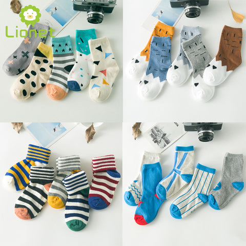 5 Pair/lot Cute Cartoon Geometrical Pattern Baby Kids Socks Unisex