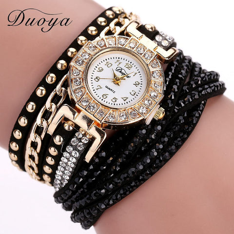 Duoya Watch Women Brand Luxury Gold Fashion Crystal Rhinestone Bracelet Women  Watches