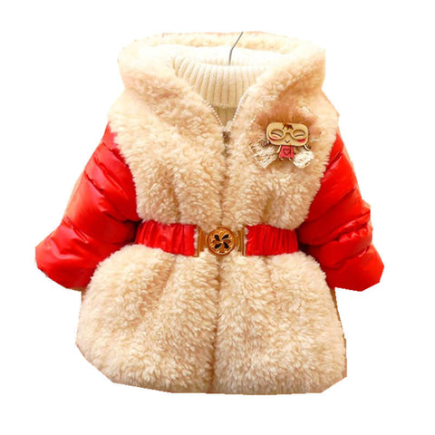 Winter Jackets for Baby Girls Leather Cotton-padded Girls Hoodies Jackets