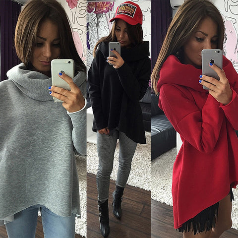 New Arrival Women Winter Hoodies Scarf Collar Long Sleeve Fashion Casual Style Autumn Sweatshirts
