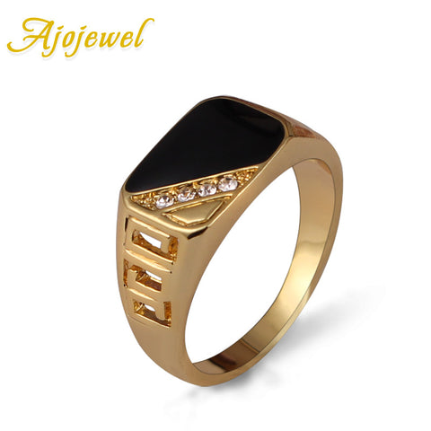 Classic Gold Plated Rhinestone Men Ring Black Enamel Finger Rings