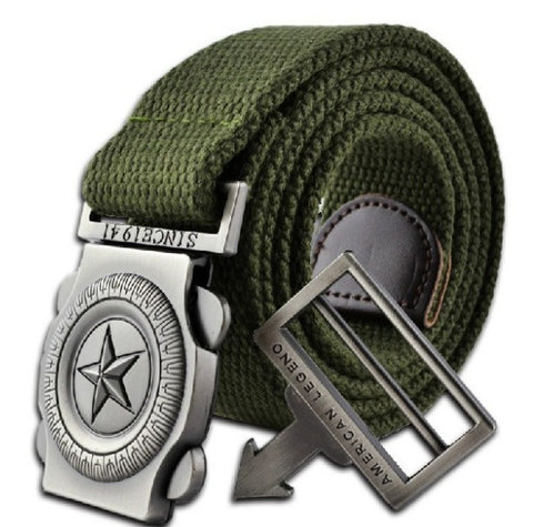 fashion brand men casual canvas belt luxury knitted Metal Buckle  outdoor designer belts for men