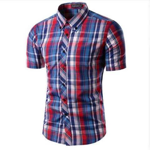 Mens Plaid Shirt Camisas  Short Sleeve Shirt Male Casual High Quality Shirt 16 Colors