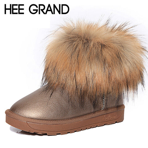 HEE GRAND Brand Women's Shoes Thick Fur Fashion Snow Boots Cotton Warm Shoes For Women Ankle Boots