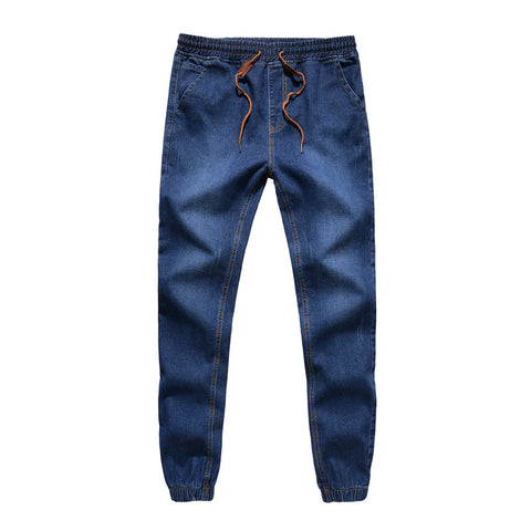 Mens Denim Jeans  Drawstring Slim Fit Denim Joggers Mens Stretch Elastic Jean Pencil Pants Casual