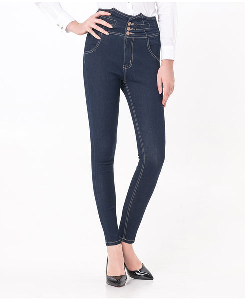 High Waist Vintage Button Full Length Elastic Skinny Jeans Pencil denim Pants