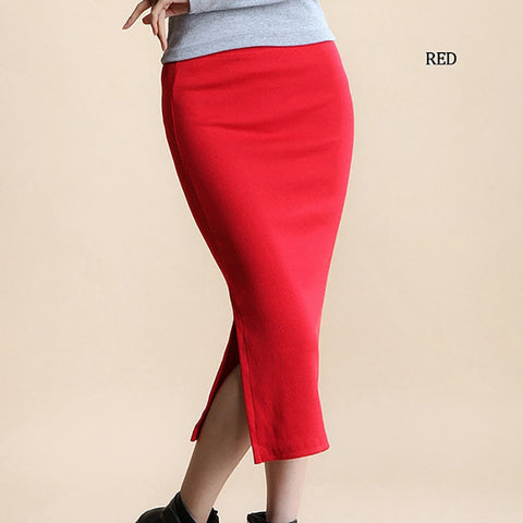 Long Skirt Fashion Solid Color Cotton Skirts Womens Maxi Skirt High Waist Elasticity Pencil Skirt
