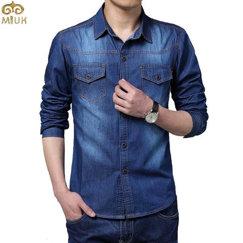 Cotton Brand Clothing Jeans Camisa Social Masculina Long Sleeve Blue Chemise Homme