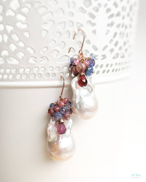 White Baroque Pearls Earrings (Rose Gold) - Blue Sapphires and Pink Tourmalines