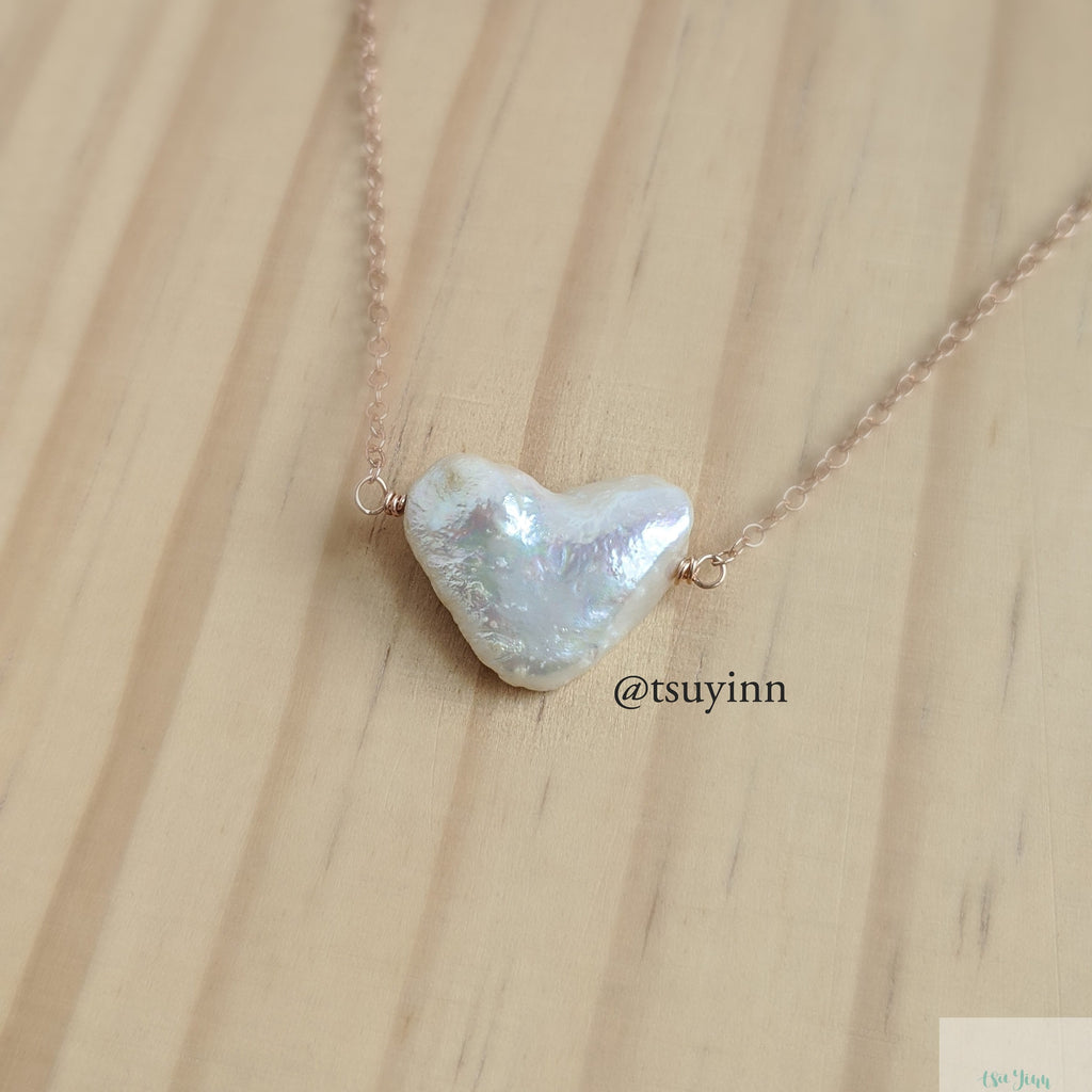 Heart Shape Keshi Pearl Necklace (Rose Gold)