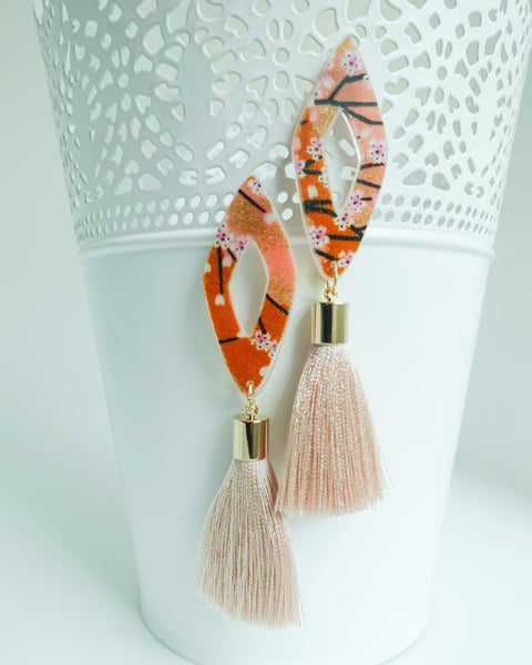 Sakura Mini Diamonte Short Caramel Tassels Earrings