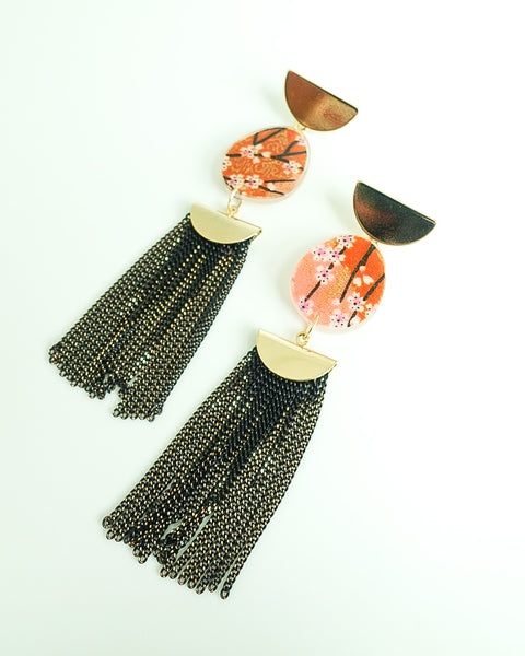 Sakura Half Moon Stud Black Chain Tassels Earrings