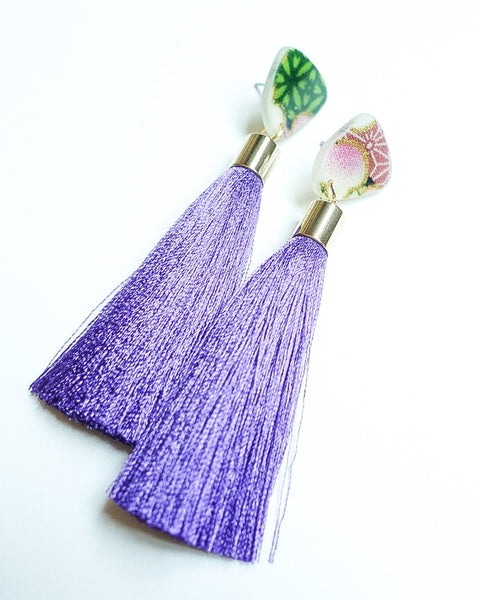 Natsuki Small Stud Violet Tassels Earrings