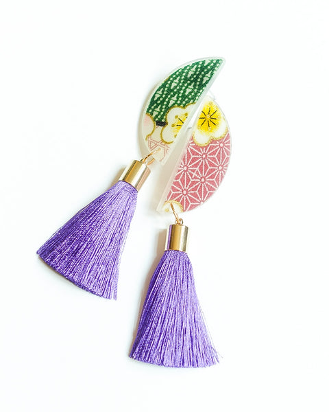 Natsuki Luna Short Violet Tassels Earrings