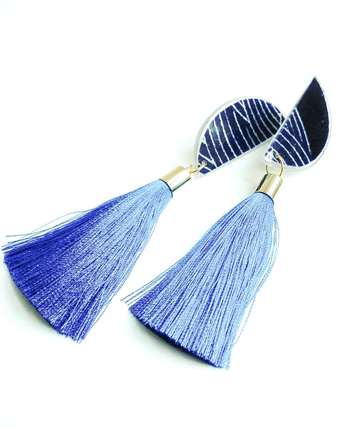Tsuyo Luna Royal Blue Tassels Clip on Earrings