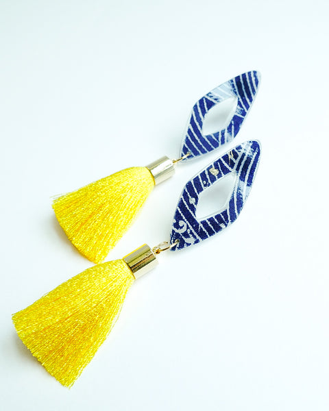 Tsuyo Mini Diamonte Short Lemon Tassels Earrings