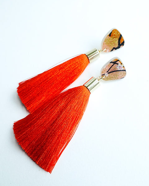 Sakura Small Stud Satsuma Tassels Earrings