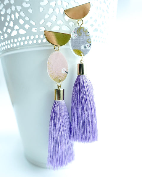 Sakura II Half Moon Lavender Tassels Earrings