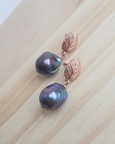 Jacqueline Earrings in Rose Gold with Small Dark Baroque Pearls