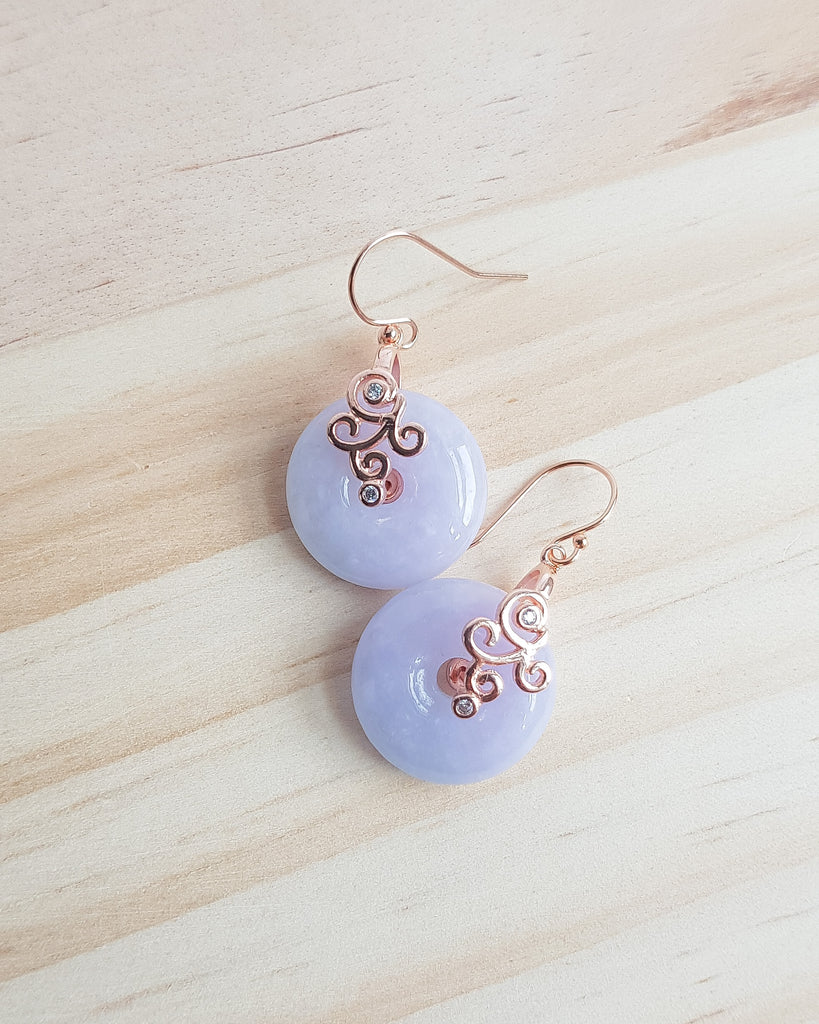 Lavender Jadeite Rose Gold Jie Earrings