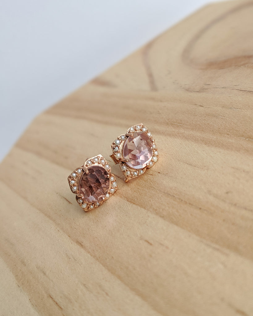 Sigrid Earrings in pink amethyst