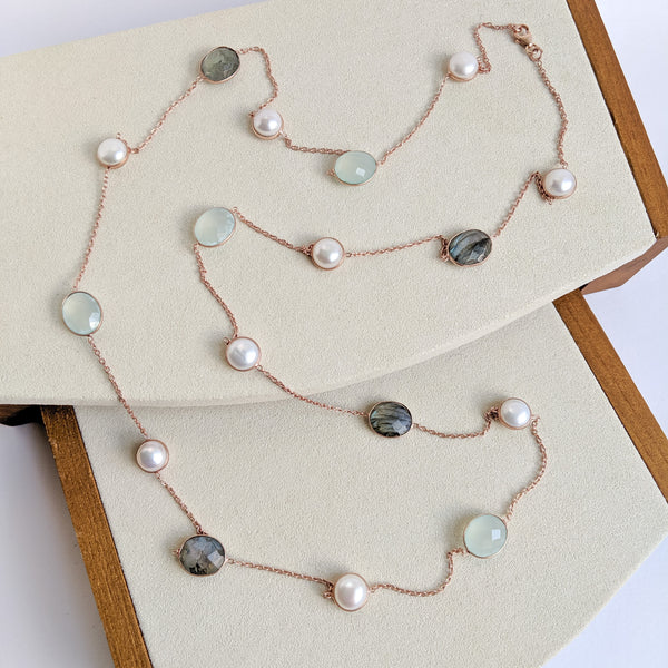 Long necklace - labradorite, aqua chalcedony and pearls