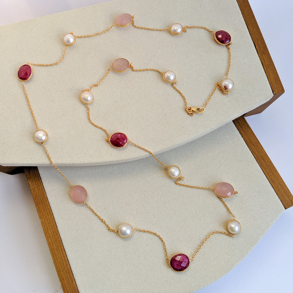 Long necklace - dyed red ruby, pink chalcedony and pearls