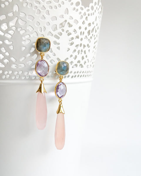 Labradorite, Amethyst, Pink Chalcedony Long Drop Earrings