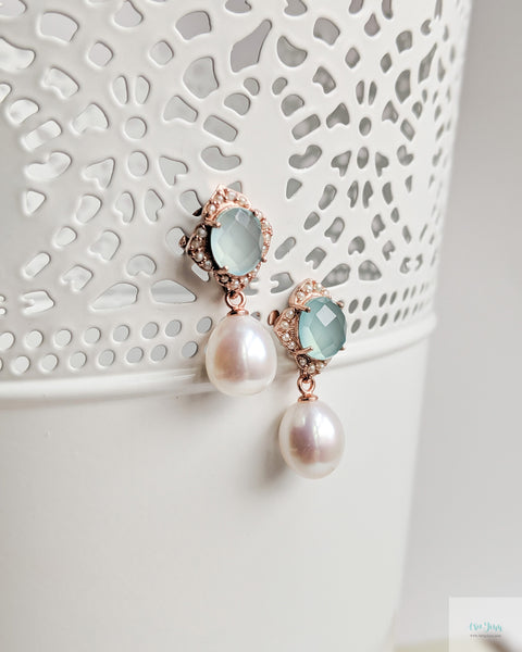Sigrid Earrings in Aqua Chalcedony