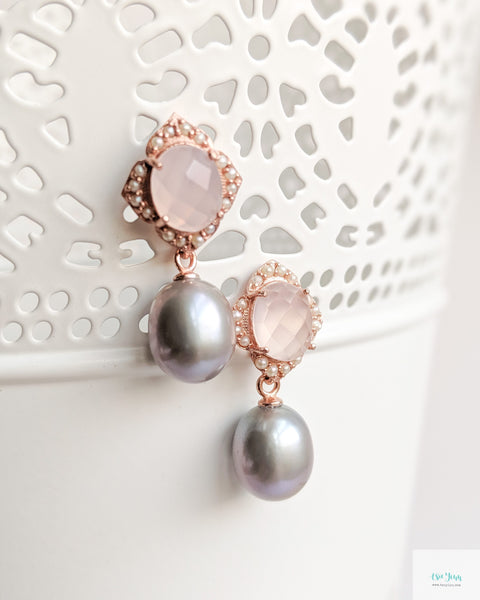 Sigrid Earrings in Pink Chalcedony