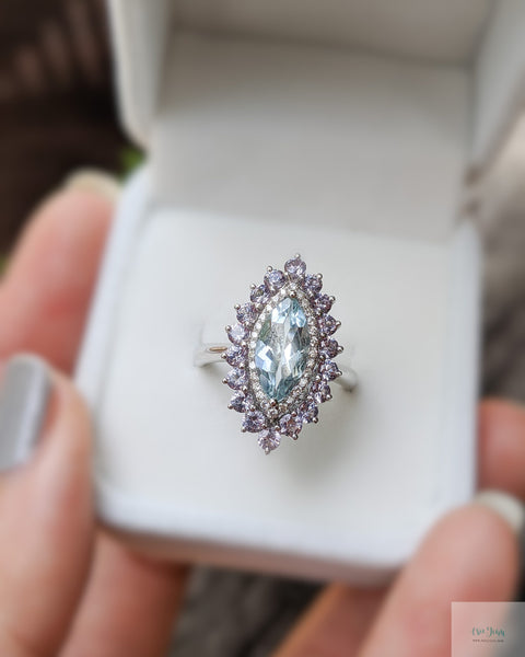 Aquamarine Diamond Ring Reset
