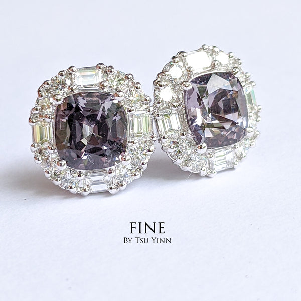 Grey Spinel Diamond Stud Earrings